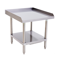 """Equipment Stand, 24"""" x 28"""", stainless steel top & adjustable undershelf, hemmed edge around the sides and back, bullet feet, ships unassembled"""