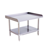 """Equipment Stand, 36"""" x 28"""", stainless steel top & adjustable undershelf, hemmed edge around the sides and back, bullet feet, ships unassembled"""