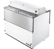 """Mobile Milk Cooler, FORCED-AIR, (12) crates, DUAL SIDED stainless steel drop front/hold-open flip-up lids, locks, 33-38°F, white vinyl exterior, stainless steel interior & floor, (3) heavy duty floor racks, digital thermometer, 4"""" castors, 1/3 HP, 115v/60/1, 6.8 amps, 9' cord, NEMA 5-15P, cULus, UL EPH Classified, MADE IN USA"""