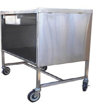 """Sample Demo Table, mobile, 36""""W x 24""""D x 37""""H, enclosed base, all-welded 18-gauge stainless steel construction, marine edge on (3) sides of tabletop, slide-out drawer, 19-3/8"""" storage area clearance, (2) swivel & (2) swivel/brake 5"""" plate casters with polyurethane tread, NSF"""