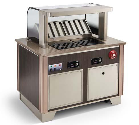 """Signature Server® Custom Downdraft Vent System: Includes Base & 18"""" tall Tempered Curved Breathguard with Integrated ANSUL R-102 Fire Suppression System, Downdraft Recirculating Vent with (2) Grease & (2) Carbon/Particulate Filters. Includes qty. 1 - 59501 Mirage Drop-In Range & Rectangle Countertop Cutting Board (in non-induction location left or right location). Includes stainless kickplates (front, left & right sides), 5"""" casters with adjustable legs). UL certified to UL710B, UL197, UL-Sanitation. NSF certified to NSF4. Meets the requirements of EPA Method 202 from Section 59 of UL710B & NFPA96. Emissions < 5.00 mg/m3 using 30% fat ground beef. Made-to-Order in the USA. . **CUSTOM PRODUCT CANNOT BE CANCELED OR RETURNED**"""