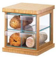 "Bread Case, 16-1/2""W x 15""D x 15""H, 4-drawer, bamboo frame with green glass and acrylic body, BPA Free"