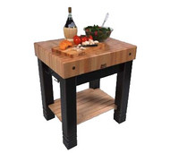 """Butlers Block,  24"""" W x 30"""" L x 34"""" H, 5"""" thick end grain Hard Maple top with Boos Block Cream Finish with Beeswax, (2) bronze towel hooks on each side of apron, maple slatted undershelf, wood base with distress finish"""