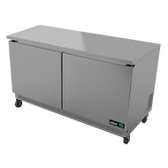 "Undercounter Refrigerator, 60"" wide, two-section, 15.0 cu. ft., (2) solid doors, (4) adjustable epoxy coated shelves, CFC polyurethane insulation, temperature from 33° to 38°, environmentally friendly R134A refrigerant, front breathing, self-contained refrigeration, magnetic door gasket, stainless steel interior and exterior, galvanized back panel, 4"" swivel casters (2 with brakes), 1/3 HP, cETLus, ETL-Sanitation, Made in North America"