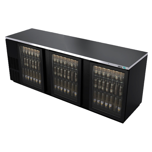 """Back Bar Cooler, 95-1/2"""", three-section, (3) glass doors, (1,302) 12 oz can capacity, (6) adjustable coated wire shelves, analog thermostat, fluorescent interior light, CFC polyurethane insulation, temperature from 33° to 38°, environmentally friendly R134A refrigerant, front breathing/side mount compressor, self-contained refrigeration, magnetic door gasket, stainless steel top, black vinyl exterior, galvanized interior with stainless steel floor, 1/3 HP, cETLus, ETL-Sanitation, Made in North America"""