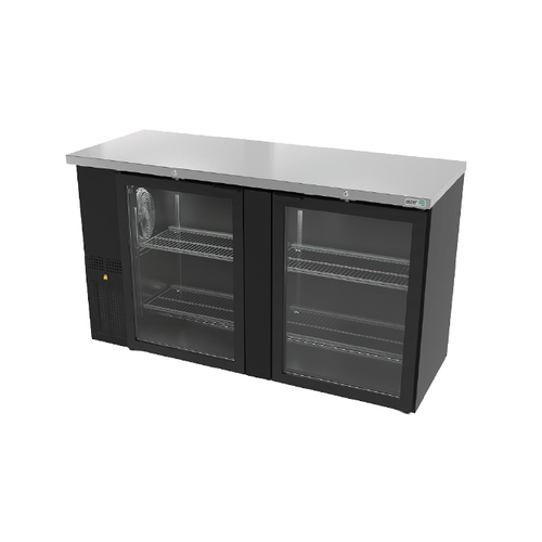 """Slim Line Back Bar Cooler, 62-3/4"""", two-section, (2) glass doors, (390) 12 oz can/ (3) keg capacity, (4) adjustable coated wire shelves, analog thermostat, fluorescent interior light, Ecomate® polyurethane insulation, temperature from 33° to 38°,  front breathing/ left side mount compressor, self-contained refrigeration, magnetic door gasket, stainless steel top, black vinyl exterior, galvanized interior, R134A refrigerant, 1/4 HP, cETLus, ETL-Sanitation, Made in North America"""
