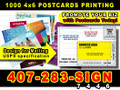 1000 Full Color 4x6  Postcards 2 sides 14 Point Card Stock