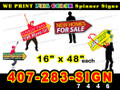 """Arrow Spinner Sign 16"""" x 48"""" Full Color BOTH SIDES PRINT, LOCAL PICKUP"""