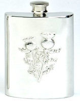 Pewter Hip Flask - Stamped Thistle Scene, 6 oz