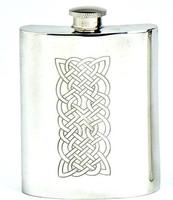 Pewter Hip Flask - Celtic Panel Engraved, 6 oz