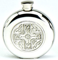 Pewter Hip Flask - Celtic Design Cross, 6 oz