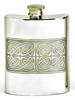 Pewter Hip Flask - Celtic Squares, 6 oz