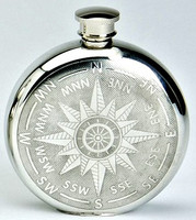 Pewter Hip Flask - Compass Design, 6 oz