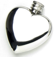 Pewter Hip Flask - Heart Shape, 4 oz