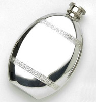 Pewter Hip Flask - Bottle Shape With Celtic Bands, 4 oz