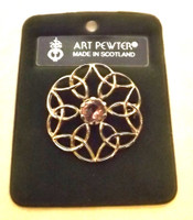 Art Pewter Round Celtic Knot Brooch with Amethyst Stone