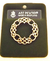 Art Pewter Circle Ring Looped Brooch