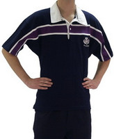 Short Sleeved Scotland Purple-Striped Rugby Shirt