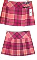 Pure New Wool Ladies Pink Plaid Skirt