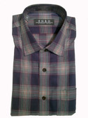Enro Non-Iron Spread Collar Dark Teal Plaid Big & Tall Sportshirt