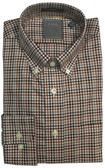 Enro Non-Iron Brown Check Button Down Collar Sportshirt