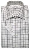 Enro Non-Iron Spread Collar Grey Grid Dress Shirt