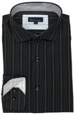 BLU by Polifroni Spread Collar Black Stripe Sportshirt