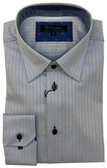 BLU by Polifroni Hidden Button Down Collar Blue Stripe Sportshirt