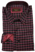 Serica Classics Spread Collar Maroon Grid Sportshirt