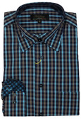 Polifroni Hidden Button Down Collar Turquoise Grid Sportshirt