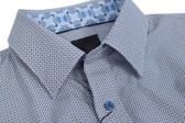 Fusion Grey/Blue Micro Neat Print Short Sleeve Sportshirt