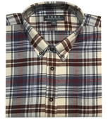 Enro Non-Iron Button Down Collar Ivory Plaid Sportshirt