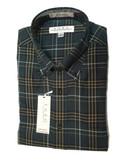 Enro Non-Iron Button Down Collar Olive Plaid Sportshirt