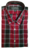 Enro Non-Iron Button Down Collar Cherry Plaid Sportshirt