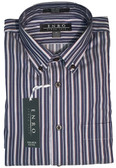 Enro Non-Iron Button Down Collar Navy Stripe Sportshirt