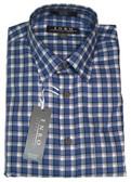 Enro Non-Iron Hidden Button Down Collar Blue Plaid Sportshirt