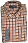 Enro Non-Iron Hidden Button Down Collar Rust Plaid Sportshirt