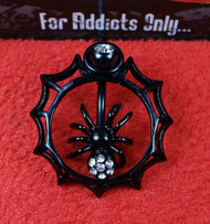 Black Spider Web Top Dangle Belly Ring
