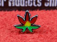 Rasta Colored Marijuana Leaf with Straight Bar