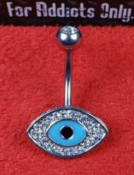 Blue Lucky (Evil) Eye Clear Gem Belly Ring