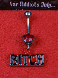 Red Bitch Dangle Belly Ring
