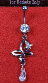 Silver Clear Gem Butterfly Tear Drop Dangle Belly Ring