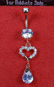 Rose Gold Clear Gem Heart Tear Drop Dangle Belly Ring
