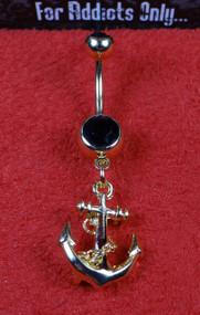 Gold Anchor Black Gem Dangle Belly Ring