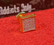 16 Clear Gem Gold Square Custom Earring