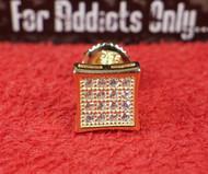 16 Clear Gem Gold on Gold Square Custom Earring