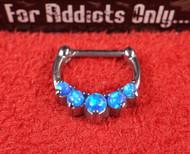 """5 Gem Blue Opal Prong 5/16"""" Septum Clicker"""