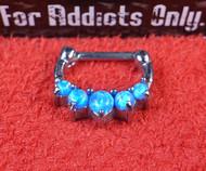 """5 Gem Blue Opal Prong 1/4"""" Septum Clicker"""