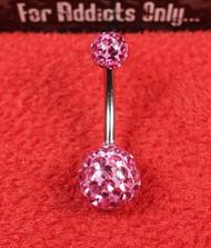 Swarovski Crystal Pink 5x8 Belly Ring