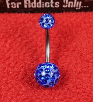 Swarovski Crystal Blue 5x8 Belly Ring